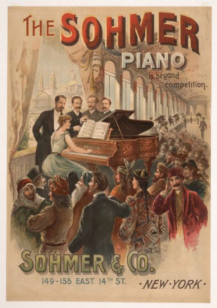 The Sohmer Piano (Sohmer & Co. New York). Vintage Advertising Print.  (004039)